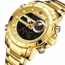 Relógio naviforce 9163 masculino dourado analogIco digital social inox ponteiro multifunções -