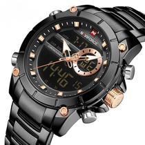 Relógio naviforce masculino 9163 digital e analogico anadigi em inox social esportivo grande preto -