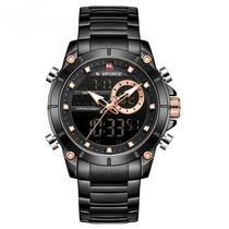 Relógio naviforce masculino digital e analógico preto e bronze inox multifuncional esportivo casual -