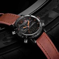 Relógio Naviforce Masculino Esportivo digital e impermeável de couro e quartzo  Marrom E Laranja -