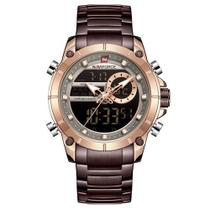 Relógio naviforce masculino marrom bronze digital e analógico inox esportivo casual anadigi -