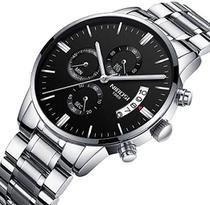 Relógio nibosi 2309 prata masculino todo funcional cronogáfo social inox analógico  casual -