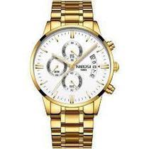 Relógio nibosi dourado branco -