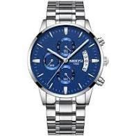 Relógio nibosi prata azul -