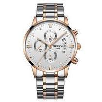 Relógio nibosi prata dourado branco -