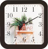 Relógio Parede 23cm Silencioso Preto Cozinha Herweg 660053S-034 -