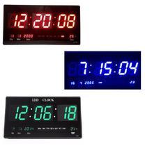 Relógio Parede 46cm Painel Led Digital Grande Termômetro Decoração Casa Sala Escritório Cozinha Quarto -