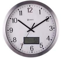Relógio Parede Alumínio 30cm Silencioso C/ Mini Estação Meteorológica Termômetro   Herweg Ref - 6721 -