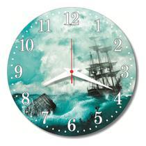 Relógio Parede Barco Mar Navio Decoração Cozinha Sala 30cm - Relógil