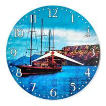 Relógio Parede Barco Praia Decoração Mar Cozinha Sala 30cm - Relógil