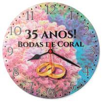 Relógio Parede Bodas Coral 35 Anos Presente Casamento 30cm - Relógil
