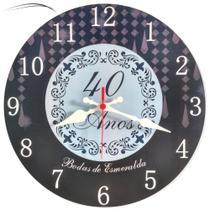 Relogio Parede Bodas Esmeralda 40 Anos Casamento Casados Presente Aniversario  30cm - Relógil