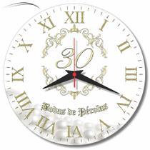Relógio Parede Bodas Pérolas 30 Anos Presente Casamento 30 Cm - Relógil