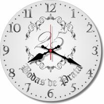 Relógio Parede Bodas Prata 25 Anos Presente Casamento 30cm - Relógil