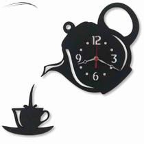 Relógio Parede Bule Xícara Chaleira Cozinha Laser Chefe Mdf - Relógil