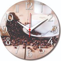 Relógio Parede Café Cozinha Grãos Xícara Bebida Coffee 30cm - Relógil