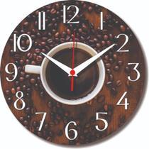 Relógio Parede Café Cozinha Xícara Bebida Coffee Grãos 30cm - Relógil