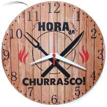 Relógio Parede Churrasco Área Festa Rústico Madeira 30cm - Relógil