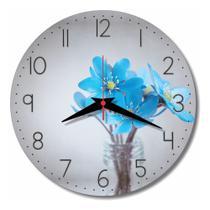 Relógio Parede Cinza Cozinha Flor Azul Retrô Azul Vaso 30cm - Relógil