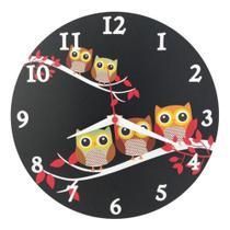 Relógio Parede Corujinha Preto Coruja Cozinha Decoração 30cm - Relógil