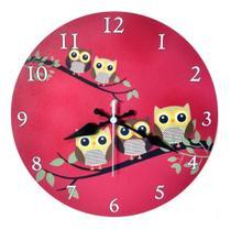 Relógio Parede Corujinha Vermelho Coruja Cozinha 30cm - Relógil