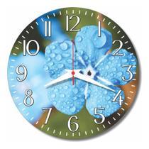 Relógio Parede Cozinha Azul Flor Retrô Vintage Florido 30cm - Relógil