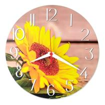 Relógio Parede Cozinha Flor Girassol Jardim Planta Vaso 30cm - Relógil