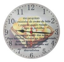 Relógio Parede Cozinha Receita Pão Queijo Decorativo 30cm - Relógil