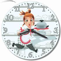 Relógio Parede Cozinha Retro Cozinheira Chefe Branco 30 Cm - Relógil