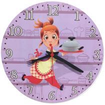 Relógio Parede Cozinha Retro Cozinheira Chefe Frances 30cm - Relógil