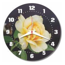 Relógio Parede Cozinha Rosa Flor Retrô Amarela Florido 30cm - Relógil