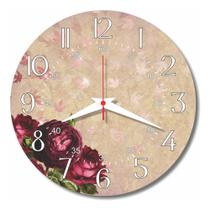 Relógio Parede Cozinha Rosa Flor Retrô Vermelha Florido 30cm - Relógil