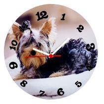 Relógio parede de madeira mdf 28cm dog - naira - ddm/pre/ddp - Center Compras