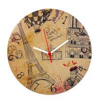 Relógio parede de madeira mdf 28cm paris mon amor - naira - ddm/pre/ddp - Center Compras