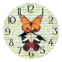 Relógio Parede Envelhecido Vintage Retrô Borboleta Cozinha 30cm - Relógil