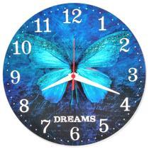 Relógio Parede Flor Borboleta Cozinha Azul Vintage 30cm - Relógil