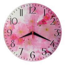 Relógio Parede Flor Cerejeira Cozinha Rosa Retrô Árvore 30cm - Relógil