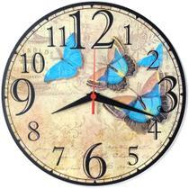 Relógio Parede Flor Vintage Cozinha Rosa Borboleta 30cm - Relógil