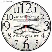 Relógio Parede Garfo Faca Cozinha Talher Vintage Retrô 30cm - Relógil