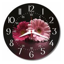 Relógio Parede Gerbera Cozinha Rosa Flor Retrô Casa 30cm - Relógil