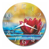 Relógio Parede Lírio Água Pétalas Cozinha Flor Retrô 30cm - Relógil