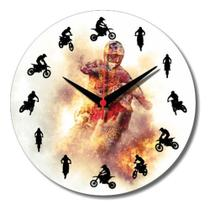 Relógio Parede Moto Motocross Capacete Trilha Manobra 30cm - Relógil