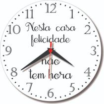 Relógio Parede Nesta Casa Felicidade Cozinha Home Claro 30cm - Relógil
