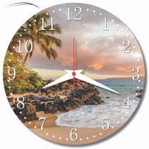 Relogio Parede Paisagem Praia Mar Areia Decoracao Sala Cozinha Presente 30cm - Relógil