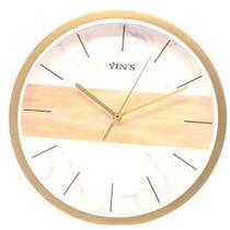Relógio Parede Redondo Sortido Branco e Dourado- Imporiente -