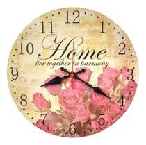 Relógio Parede Retrô Flor Vintage Cozinha Sala Grande 30cm - Relógil
