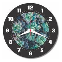 Relógio Parede Suculenta Cozinha Flor Cacto Vintage 30cm - Relógil