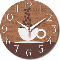 Relógio Parede Xícara Café Cozinha Retrô Vintage Sala 30cm - Relógil