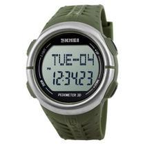 Relógio Pedômetro Masculino Skmei Digital 1058 - Verde e Prata -