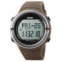 Relógio Pedômetro Masculino Skmei Digital 1111 - Marrom e Prata -